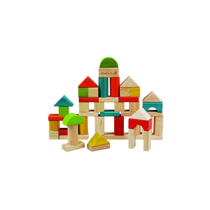 Bloques de construcción madera (50 piezas) EverEarth