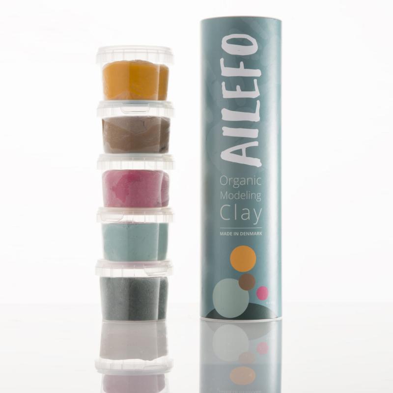 Tubo de plastilina orgánica AILEFO 5 colores 160 gr.
